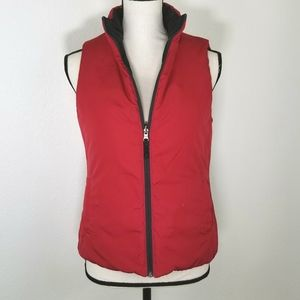 Reversible Red & Black Zip-Up Puffer Vest, size S